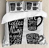 ABAKUHAUS Kaffee Bettwäsche Set für Doppelbetten, Container Silhouette, Weicher Microfaserstoff Allegigeignet kein Verblassen, 230 x 220 cm, Pale Grau Schwarz