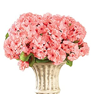 Collections Etc Artificial Geranium Floral Bush, Set of 3 – Maintenance Free Artificial Flowers for Indoor or Outdoor Display, Use 3 Bouquets Separately or Combine All 3