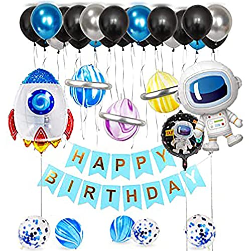 Qyaml Astronaut Happy Birthday Banner Balloon Set, con Globos De Látex Globos De Confeti Y Globos De Película De Aluminio para Decoraciones De Fiesta De Cumpleaños De Niño