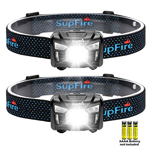 SuperFire Linterna Frontal HL06-A 2 Paquetes Ultraligero Super Brillante 650 lúmenes Linterna Frontal LED con Sensor de Movimiento y luz roja, por baterías 3AAA (baterías no Incluidas)