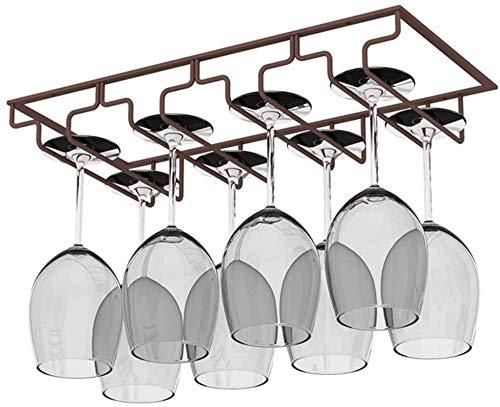 Vinstället bänkskiva, 4 Row vinglas Rack Under Cabinet Remmare Rack champagne Glass Rack Holder, inkl skruvar Lätt att installera (Color : Bronze)