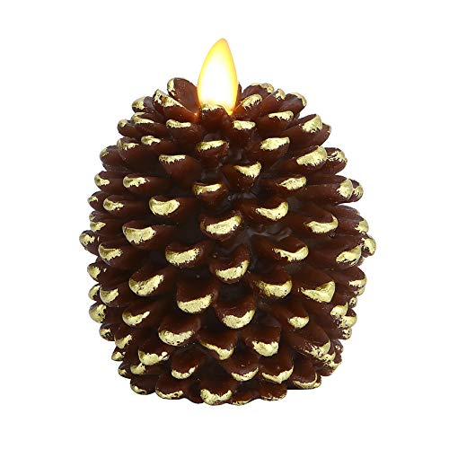 """Pinecone Unscented Wax Battery Operated Flameless Candle with Moving Wick and Timer 3.4"""" x 4.1"""" (Brown)"""