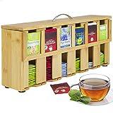 ONVAYA® Caja de té de madera | Caja de té con 6 compartimentos | Caja para bolsas de té para aprox. 200 bolsas de té | Caja de almacenamiento de té | Dispensador de bolsas de té de bambú