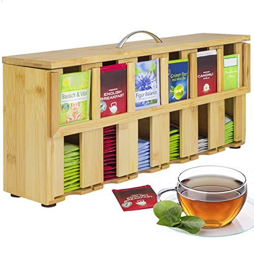 ONVAYA® Teebox aus Holz | Teekiste mit 6 Fächern | Teebeutelbox für ca. 200 Teebeutel | Tee Aufbewahrungsbox | Teebeutelspender aus Bambus | Teebeutel Organizer