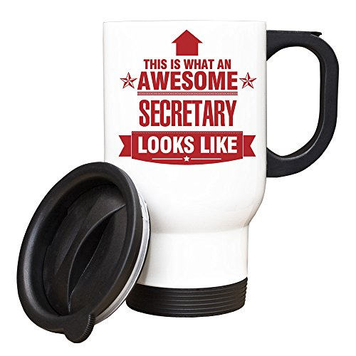Duke Gifts Rouge Secrétaire This is What an Awesome Looks Like Mug de Voyage Blanc
