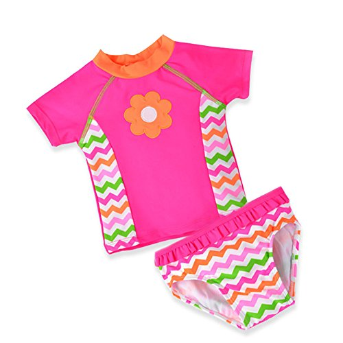 Baby Toddler Girl Swimsuit Set Kid Two Pieces Swimwear Rash Guard Pink 18M
