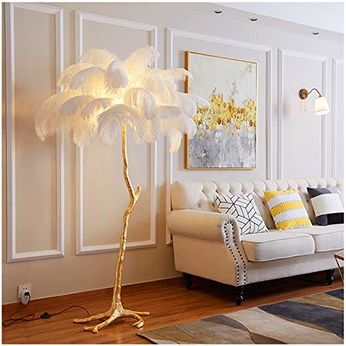 MEILINL Lámpara De Pie De Plumas De Avestruz Nordic Lámpara Vertical De Plumas con 3 Niveles De Brillo para salón Dormitorio o Sala de Juegos Restaurante portalámparas E27