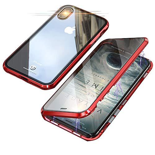 Jonwelsy Cover per iPhone XS/X, 360 Gradi Anteriore e Posteriore Vetro Temperato Trasparente Custodia, Tecnologia di Adsorbimento Magnetico Bumper Metallo per iPhone XS/X (5,8 Pollice)