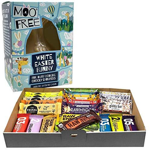 Vegane Ostern Geschenkpaket 24 Fitnessriegel und Milchfreier Schokoladen-Osterhase