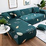 WXQY Funda de sofá con Estampado de Hojas Verdes para Sala de Estar, Elastano elástico, sofá Modular en Forma de L Compra 2 Fundas de sofá A1 3 plazas