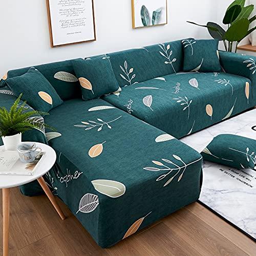 WXQY Funda de sofá elástica Funda de sofá de Sala de Estar Moderna, sofá de Esquina en Forma de L Necesita Comprar 2 Piezas, patrón de Hoja A11 4 plazas