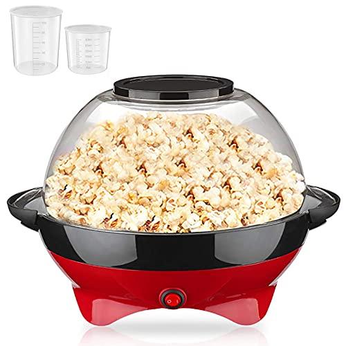Popcornmaschine, 800W Popcorn Maker, Popcornmaschinen mit Zucker und Öl, Abnehmbares Heizfläche, Antihaftbeschichtung und Deckel, mit 2 Messbechern (100 ml, 30 ml), BPA-Frei, 5 L, 5-6min