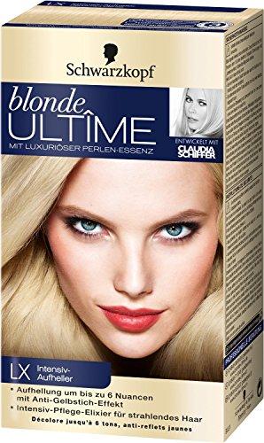 2x Schwarzkopf blonde Ultîme mit Luxuriöser Perlen-Essenz Intensiv-Aufheller Nr. LX Intensiv-Aufheller für eine Aufhellung um bis zu 6 Nuancen mit Anti-Gelbstich-Effekt. für strahlendes schönes Haar mit intensiv-Pflege-Elixier. Aufheller für die Haare