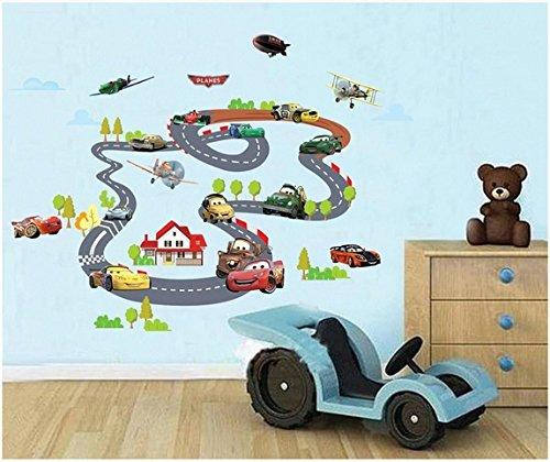 Rayo McQueen Carros llanuras XXL Pegatinas de pared Guardería Niños Cuarto Pegatina de pared extraíble Mural Calcomanía Decoración Decoración de bebé