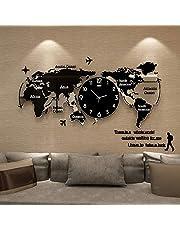 Wandklok Acryl DIY 3D Wereldkaart Wandklok, mooie kunst aan de muur Grote decoratieve wandklok voor woonkamer, slaapkamer, kantoor (zwart), 120 × 55 cm