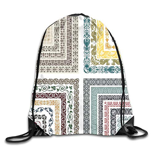 Print Drawstring Backpack,Royal Eastern Authentic Ornate Swirling Ethnic Ancient Figure Lines Mosaic Design,Beach Bag for Gym Shopping Sport Yoga