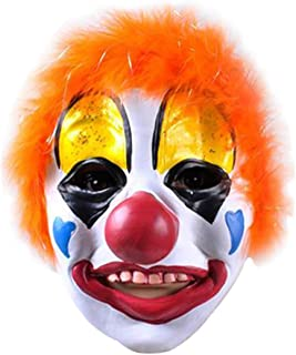Clown Mask with Colorful Hair Scary Latex Mask Halloween Horror Cosplay Costume Prop