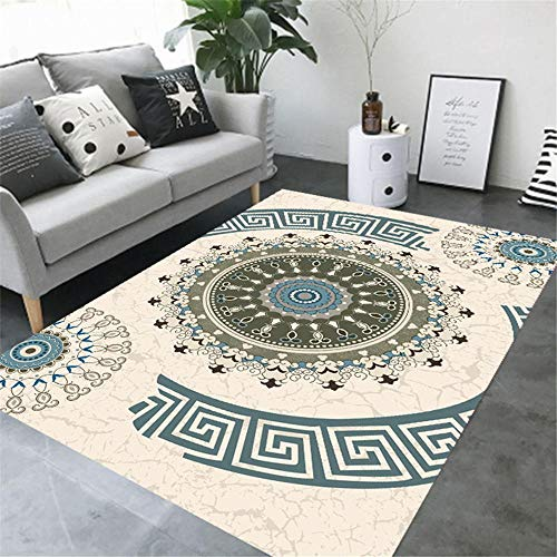 WBDYMX Tapijten woonkamer grote soft touch Soft touch beschermende vloer geel vintage bloemmotief gemakkelijk te reinigen door open haard tapijt
