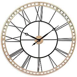 Tower XXL Wall Clock 40 inch Open Face Wall Clock Infinity Instruments Large Metal Clock Quartz Movement Tower Huge Clock (BlackGold)