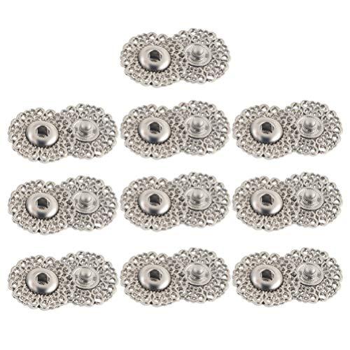 Healifty 10 botones automáticos de metal automáticos con forma de copo de nieve, botones automáticos para coser, manualidades, color plateado, 25 mm