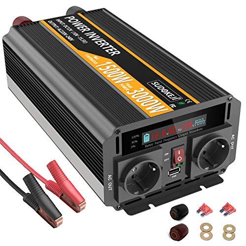 SUDOKEJI 1500W 3000W Wechselrichter 12v auf 230v Spannungswandler mit Flüssigkristallanzeige für die Wohnwagen, Boot, Camping, Reisen,Zuhause, Solar verwendet Werden kann.