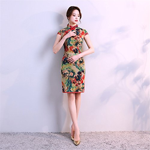YAN Vestido de Qipao Cheongsam chino de las mujeres Vestido de Qipao Vestido de fiesta corto de la tarde Mini S, M, L, XL, XXL, XXXL (tamaño : SG, Estilo : 3)