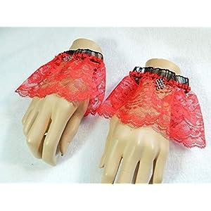 2 Armbänder Gr.M-L Spitze rot schwarz Keltischer Knoten