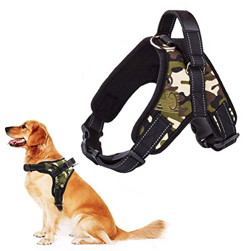 RCruning-EU No-Pull-Hundegeschirr für Kleine Mittlere Große Hunde Geschirr Verstellbar Welpengeschirr für Training oder Walking-Camouflage Green-M-Chest 51-64cm-0.13KG