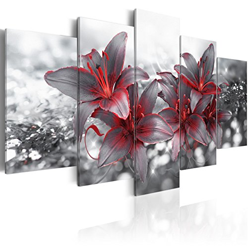 murando Cuadro en Lienzo Flores Lirios 200x100 cm Impresión de 5 Piezas Material Tejido no Tejido Impresión Artística Imagen Gráfica Decoracion de Pared Naturaleza Abstracto - b-A-0300-b-n