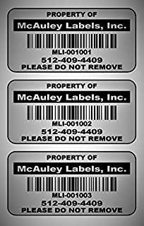500 Custom 2x1 Metalized Silver Polyester Asset Tags/Labels Various Quantities