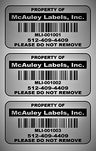 """500 Custom 2x1 Metalized Silver Polyester Asset Tags/Labels Various Quantities""""Featuring Easy Do It Yourself Design"""""""