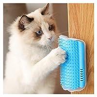 猫用グルーミングブラシ ブルー猫自己グルーミングコーム、ペットキャットホーンスクレーパーヘアー梳毛グルーミングブラシスクラッチャー、2つの設置方法