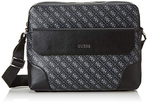Guess Herren Dan Briefcase Business Tasche, Schwarz (Black), 8, 5x37x29 Centimeters
