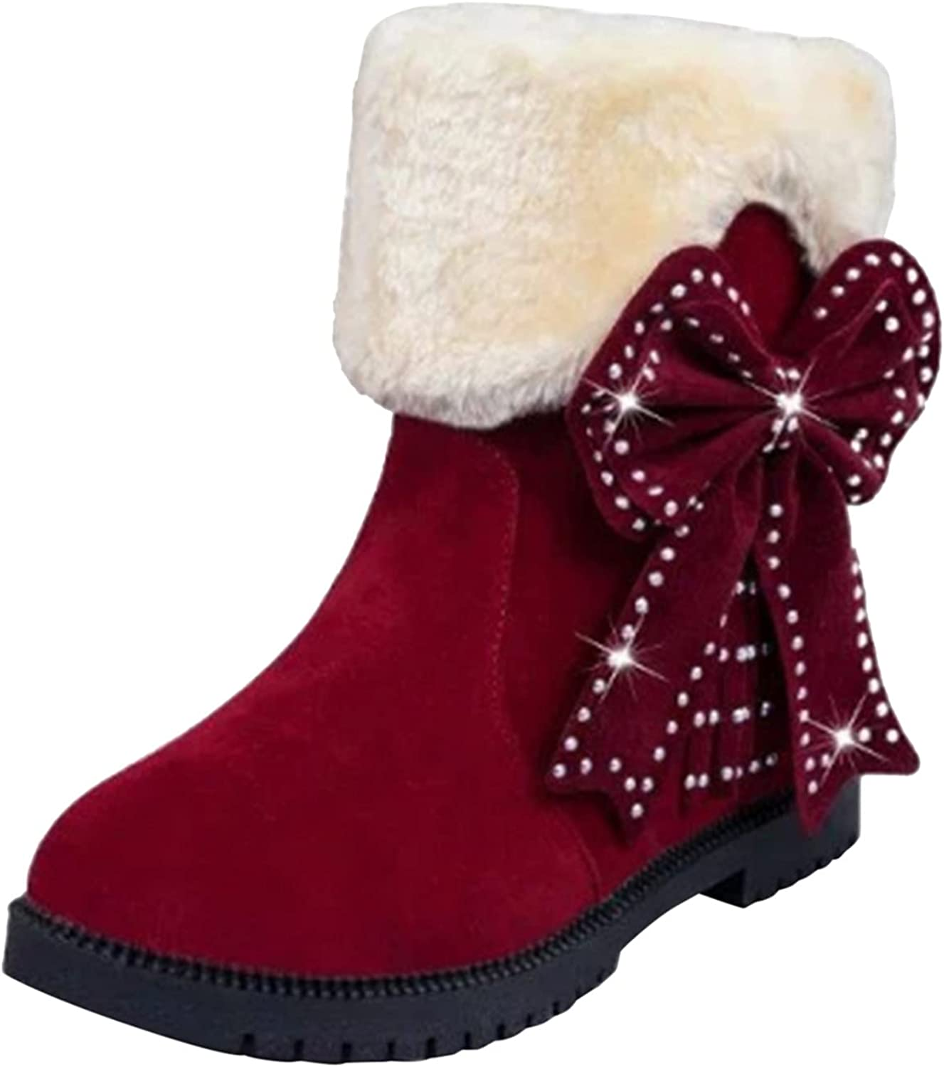 PMUYBHF Womens Snow Boots Winter Fur Lined Ankle Boots Ladies Side Zipper Warm Booties Walking Boots