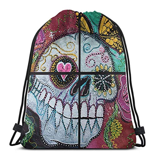 LREFON Gimnasio Bolsas con cordón Mochila Spirit Skull Sackpack Tote para viajes Almacenamiento Organizador de zapatos Ahorro Bolsas de regalo Niños