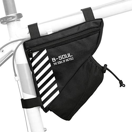 Lixada Borsa Triangolare per Bici con Tasca per Bottiglia d'Acqua Telaio per Ciclismo Borsa per Tubo Superiore Borsa per Attrezzi per Bicicletta MTB