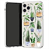 Lex Altern TPU Coque pour iPhone Apple 11 Pro XS Max XR 8 X 7 Plus 6s 5 Vertes Plantes d'intérieur Mignon Fleur Souple Fin Transparente Léger Étui Cactus Téléphone Pot Case Motif Doux Femme uk0928