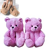 Teddy Bear Slippers,Pantuflas con Osito de Peluche,Zapatillas de Peluche de Oso de Peluche de Mujer en Casa Interior (Rosado)