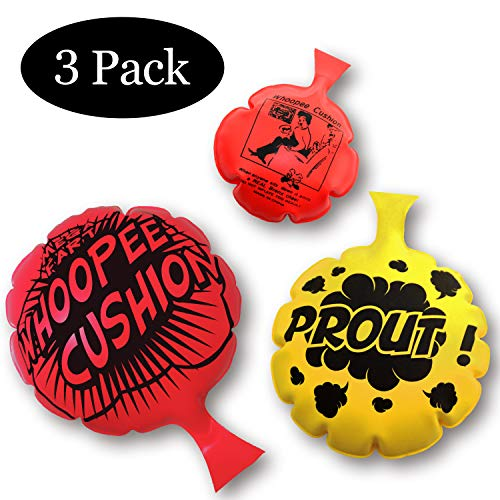 HUALEDI [3 Pack] Whoopee Cushion Set,Woopie Cushion Party Favor for [4,6,8 Inch][No Automatic Inflation][Reward][Prank Gag][Novelty Trick Joke] Gift and Toy for Kids Children Office Home
