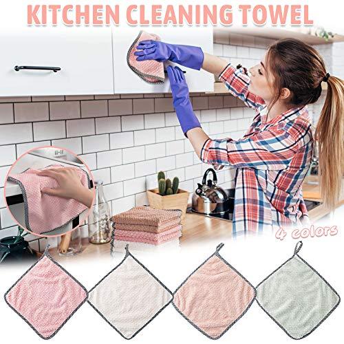 YWYU Paño de limpieza, paños antiadherentes de aceite de coral terciopelo colgante toallas de mano de cocina Dishclout paño de limpieza toalla de paño