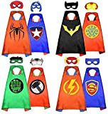 HERO WOW Superhero Capes, 8 Heroes Reversible Satin Capes and Masks for Dress Up Costumes(4 Cape, 8 Mask) (red)