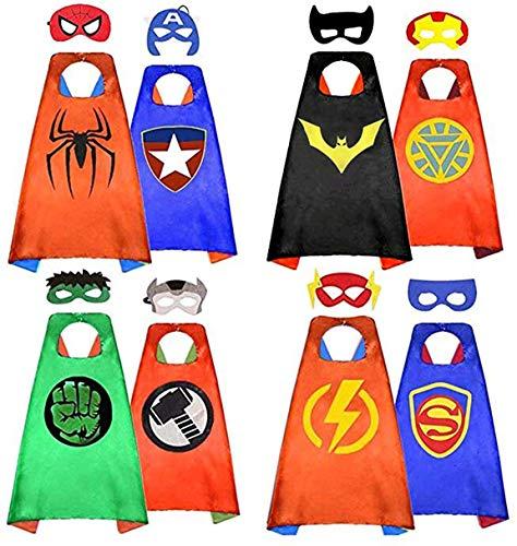BELVITA - Capas de superhéroe para niños, 8 capas reversibles de satén y máscaras para disfraces (4 capas, 8 máscaras)