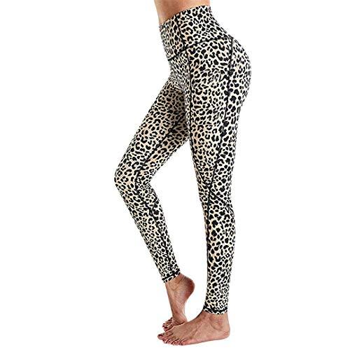 Leggings con Estampado de Leopardo con Bolsillo Mujer Sport Fitness Push Up Pantalones de Cintura Alta A XL