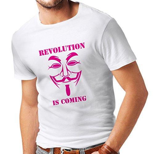lepni.me Camisetas Hombre La Revolución se Acerca Hackers Anónimos Legión V para Vendetta (Medium Blanco Magenta)