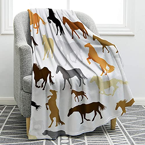 Manta de caballo roja vintage suave con impresión suave para sofá, silla, cama, oficina, viajes, camping, mujer, regalo de 127 x 152 cm