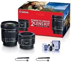 Canon Portrait & Travel 2 Lens Kit - EF 50mm f/1.8 STM Lens & EF-S 10-18mm f/4.5-5.6 is STM Lens - Includes Cleaning Kit, Capleash II