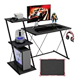 "Bestier Gaming Desk with Shelf 51.5"" Carbon Fiber Home Office Computer Desk with 3-Tier Open Shelf Modern Simple Office Desk with Headset Hook Computer Workstation, Space-Saving, Easy to Assemble"