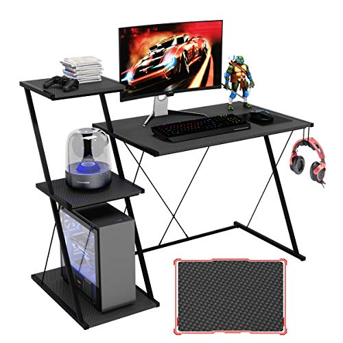 "Bestier Gaming Desk with Shelf 51.5"" Carbon Fiber Home Office Computer Desk with 3-Tier Open Shelf..."