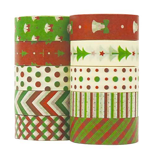 Juego de 10 rollos de cinta Washi, cinta decorativa de Navidad, colección de...