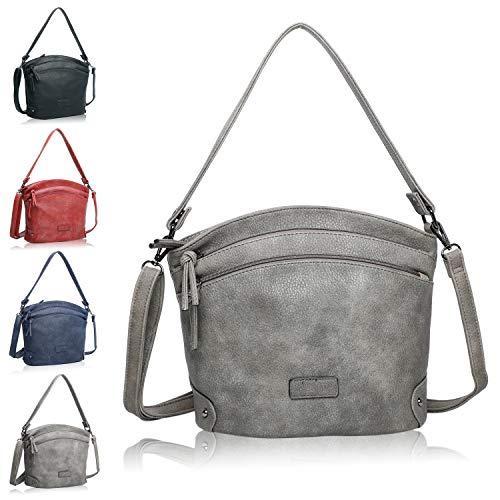 CASAdiNOVA - vegane Handtasche Damen - Schultertasche, Umhängetasche Damen - Frauen-Hand-Tasche Schwarz (Grau)